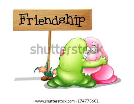 Illustration of a green and a pink monster hugging near the wooden signage on a white background - stock photo
