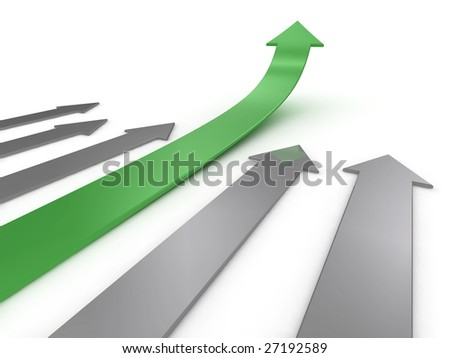 Illustration of a green arrow, ahead of the competition. Could be used to represent success, growth, statistics etc.