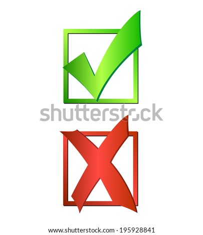 Illustration of a green checkmark and red X isolated on a white background. - stock photo