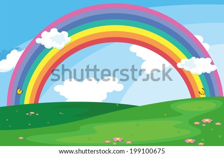 Illustration of a green landscape with a rainbow in the sky - stock photo
