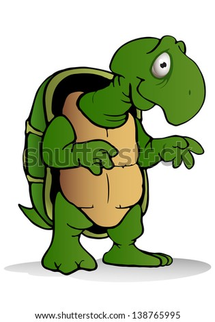 illustration of a green lazy turtle on isolated white background - stock photo