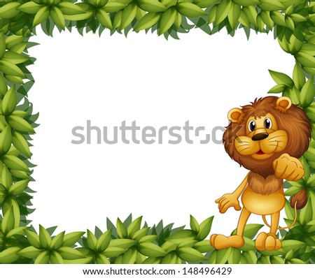 Illustration of a green leafy frame with a lion