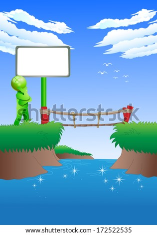 illustration of a green man have a difficult choices to cross the bridge - stock photo