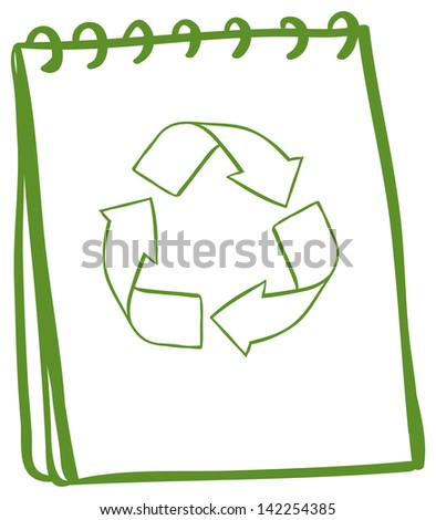 Illustration of a green notebook with the symbols for recycling on a white background - stock photo