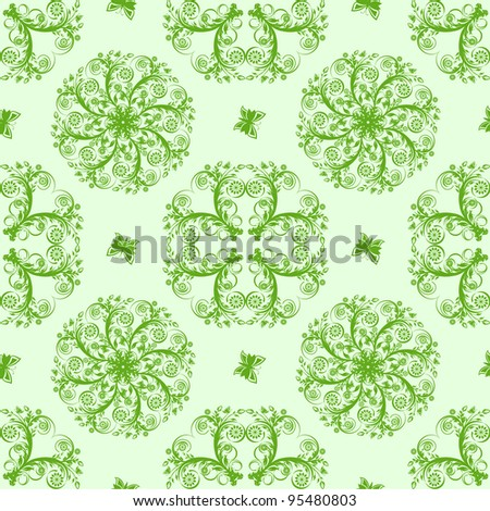 illustration of a green seamless floral background with butterflies - stock photo