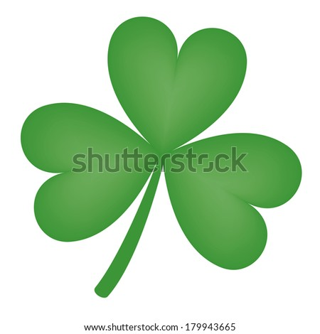 Illustration of a green three-leaf shamrock clover - stock photo