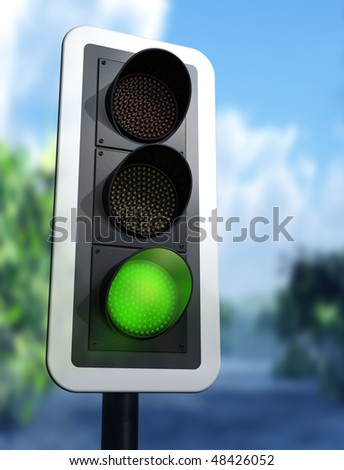 Illustration of a green traffic light on a country road - stock photo