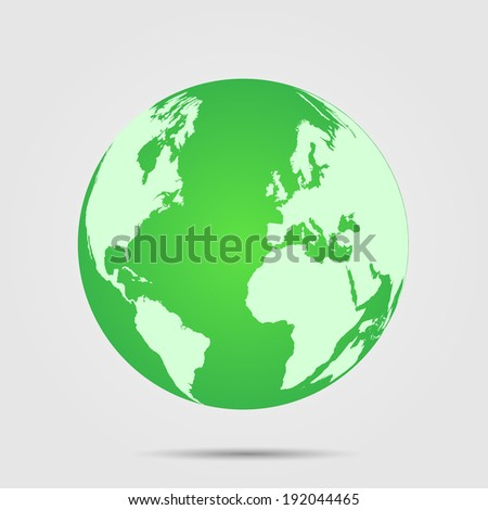 Illustration of a green world globe isolated on a light background.