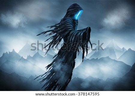 Illustration of a Grim Reaper or fantasy evil spirit with a mountain background. Digital painting. - stock photo