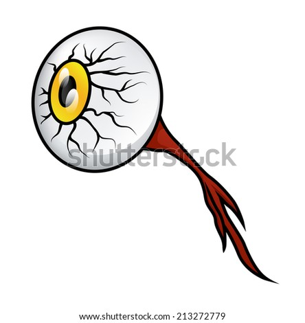 Illustration of a gross cartoon eyeball with the nerve still attached, isolated on white. Raster. - stock photo