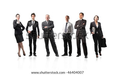 Illustration of a group of businessmen and businesswomen - stock photo
