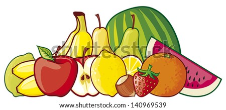 illustration of a group of fruits (red apple, strawberry, pear, lemon, green lemon, orange, watermelon, banana, hazelnut) - stock photo