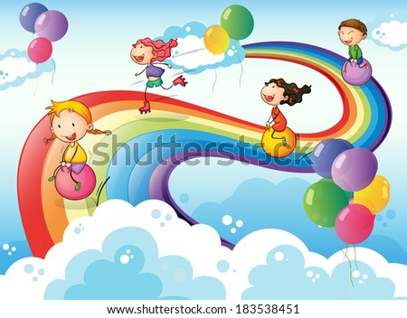 Illustration of a group of kids playing at the sky with a rainbow - stock photo