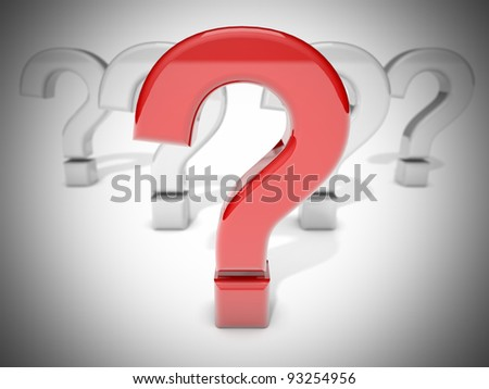 Illustration of a group of question marks.Focus on red question mark.Vignetted image.
