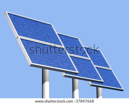 Illustration of a group of solar panels on a clear sunny day - stock photo