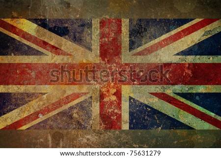 Illustration of a grunge style British flag - Union Jack on rough stone surface - stock photo