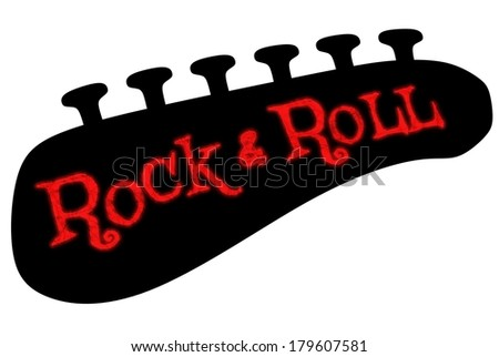 Illustration of a guitar headstock tuners and the words Rock & Roll in grunge text - stock photo