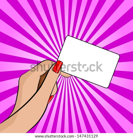 Illustration of a Hand Holding a Piece of Paper - Retro or Pop Art - stock photo