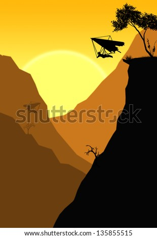 Illustration of a hang glider jumps off a cliff in a canyon at sunset - stock photo