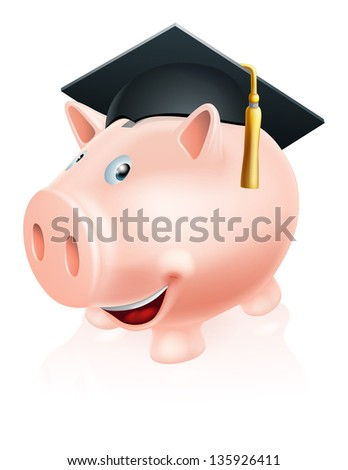 Illustration of a happy academic education savings piggy bank with mortar board convocation  cap on. Concept for saving money for study or similar. - stock photo