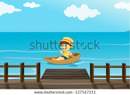 Illustration of a happy boy riding in a boat - stock photo