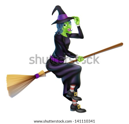 Illustration of a happy cartoon Halloween witch flying on her broomstick and tipping her hat - stock photo