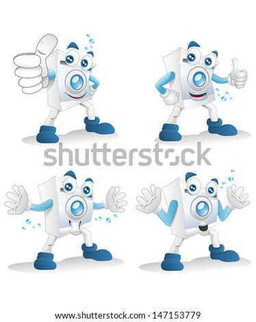 illustration of a happy cartoon washing machine on isolated white background - stock photo