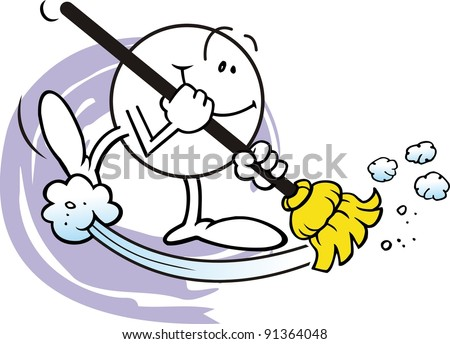 Illustration of a Happy Character with Yellow Broom, Sweeping - stock photo