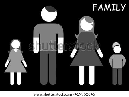 illustration of a happy family - mother, father and children.