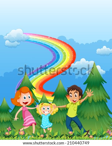 Illustration of a happy family near the pine trees with a rainbow in the sky - stock photo