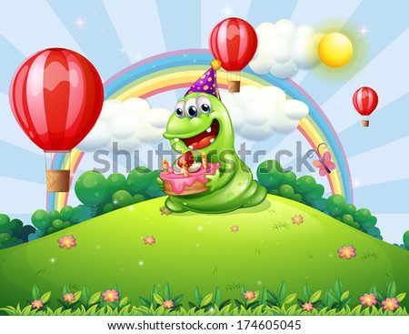 Illustration of a happy green monster celebrating his birthday at the hilltop