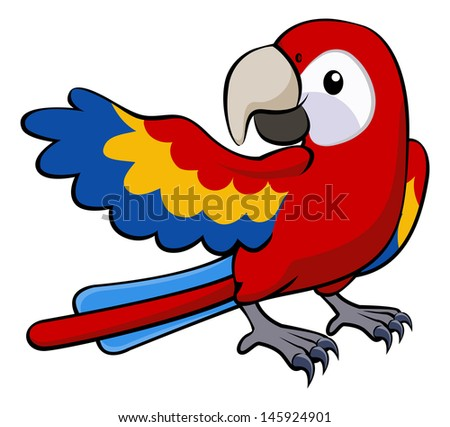 Illustration of a happy red cartoon parrot pointing with his wing - stock photo