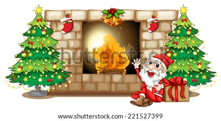 Illustration of a happy Santa near the fireplace on a white background - stock photo