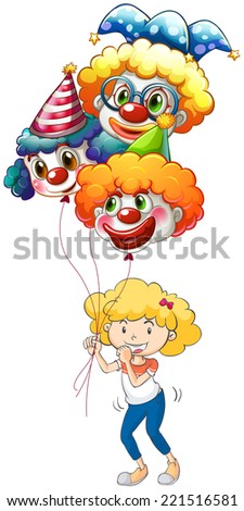 Illustration of a happy young lady with three balloons on a white background - stock photo