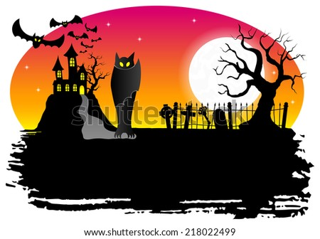 illustration of a haunted castle with bats