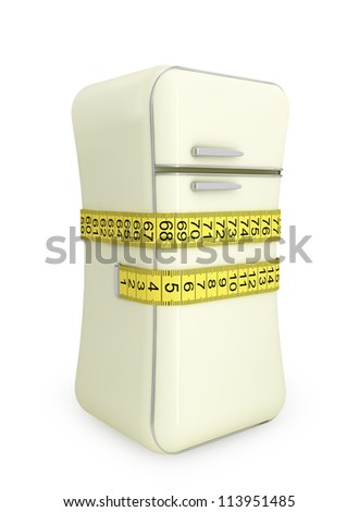 illustration of a healthy lifestyle and diet. Vintage refrigerator, tied at the waist tailor measuring tape - stock photo