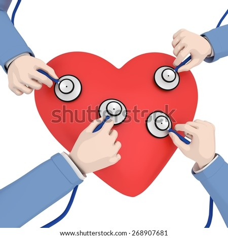 Illustration of a heart being checked by four doctors - stock photo