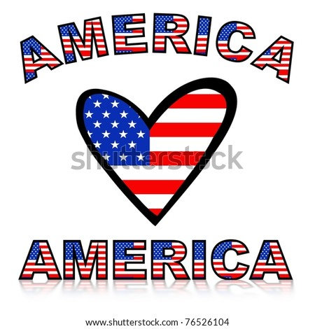Illustration of a heart with United states of America flag texture and text - stock photo