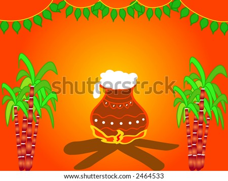 Illustration of a Hindu festival Pongal design with cooking pot , sugarcane and decorative mango leaves - Harvest festival celebrated in January - stock photo
