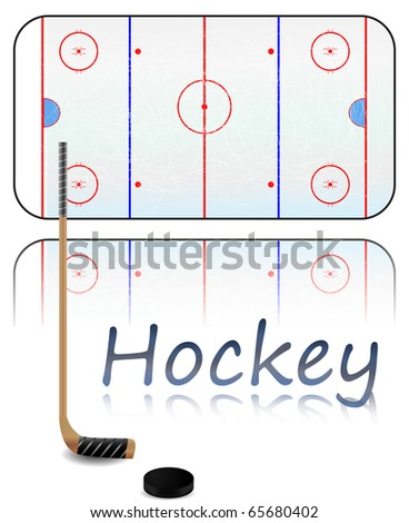 Illustration of a hockey field, hockey stick and puck. - stock photo