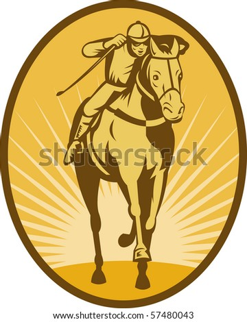 illustration of a Horse and jockey racing front view done in woodcut style. - stock photo