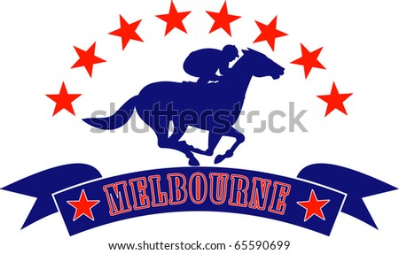 illustration of a horse and jockey racing silhouette with scroll in front and stars in background isolated on white  with words Melbourne Australlia