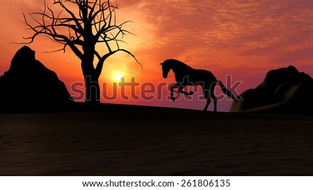 Illustration of a horse running under sunset in the desert - stock photo