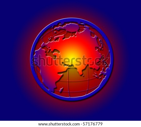 Illustration of a hot glowing earth from space