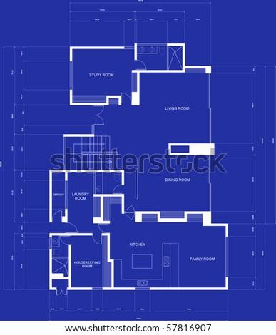 Illustration of a house blueprints - architecture concepts - stock photo