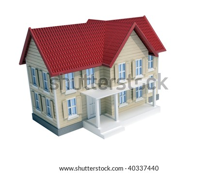 Illustration of a house isolated on white - 3d render