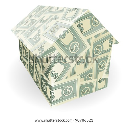 Illustration of a house made out of dollar notes
