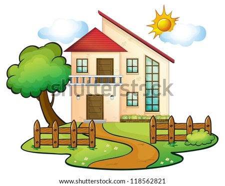 illustration of a house on a white background - stock photo