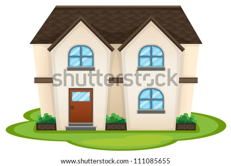 illustration of a house on a whitte background - stock photo