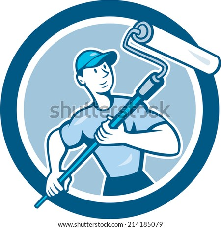 Illustration of a house painter handyman holding paint roller set inside circle on isolated background done in cartoon style. - stock photo